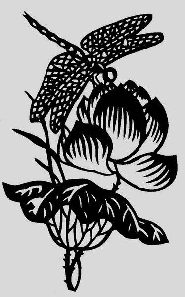 对称蜻蜓剪纸图案大全